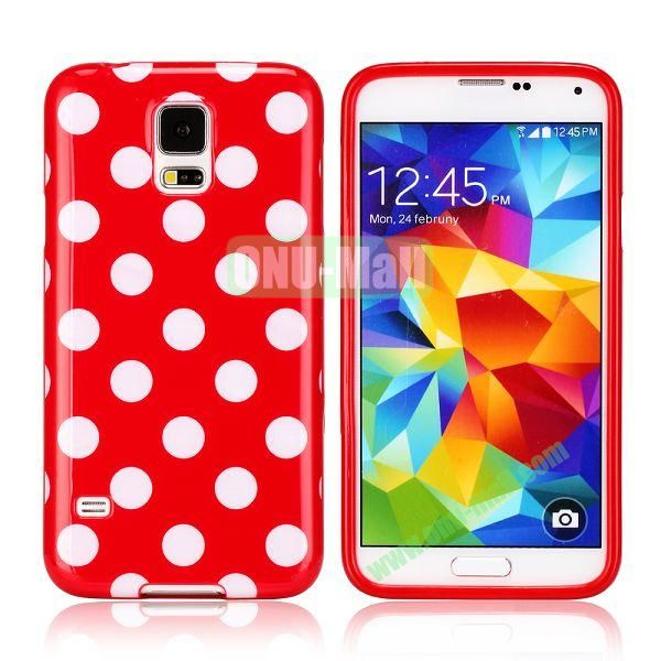 Fashionable Polka Dots Glossy TPU Case Cover for Samsung Galaxy S5i9600 (Red)