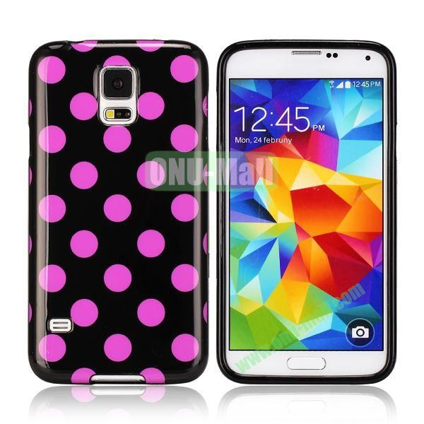 Fashionable Polka Dots Glossy TPU Case Cover for Samsung Galaxy S5i9600 (Pink)