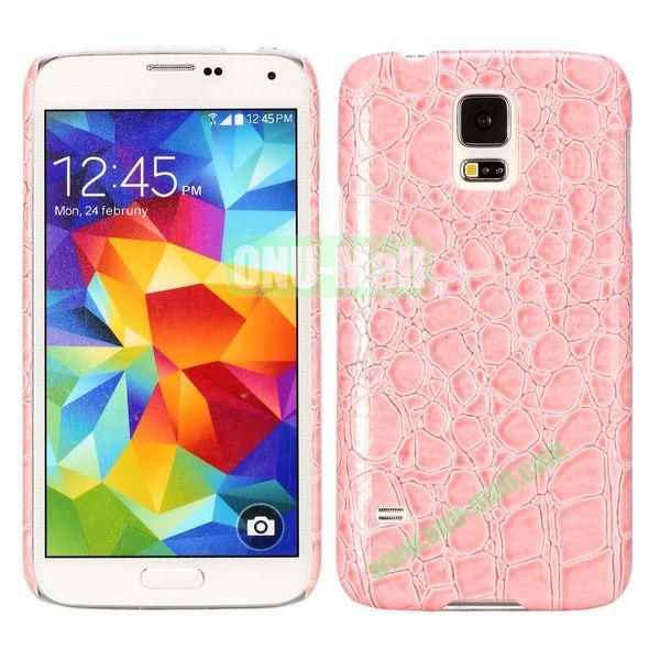 Crocodile Texture Leather Coated Hard PC Case For Samsung Galaxy S5i9600 (Pink)