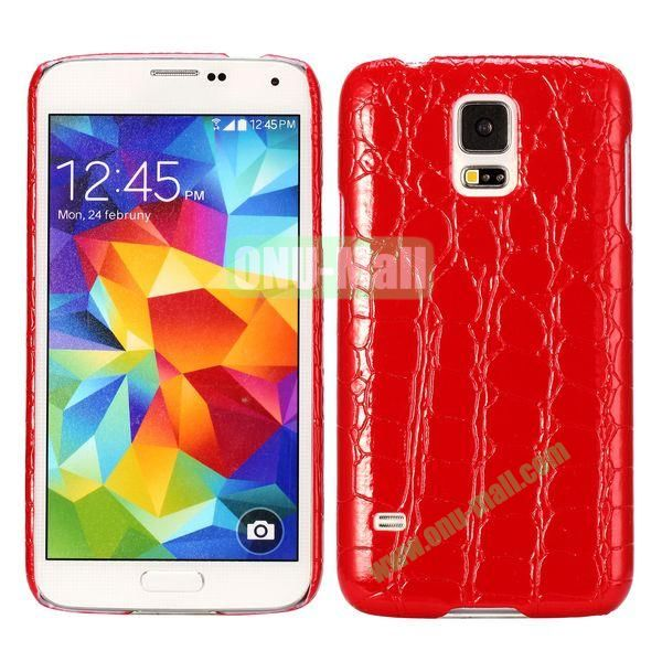 Crocodile Texture Leather Coated Hard PC Case For Samsung Galaxy S5i9600 (Red)