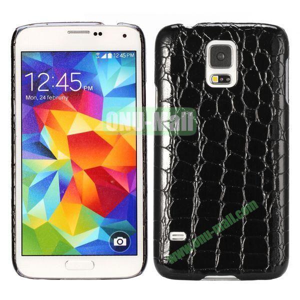 Crocodile Texture Leather Coated Hard PC Case For Samsung Galaxy S5i9600 (Black)