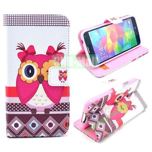 Wallet Style Magnetic Flip Stand TPU + Leather Case for Samsung Galaxy S5 I9600 G900 with Card Slots (Owl Pattern)