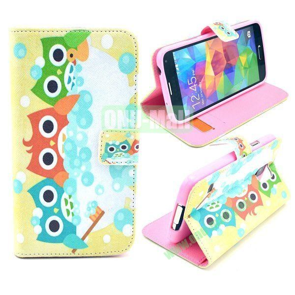 Wallet Style Magnetic Flip Stand TPU + Leather Case for Samsung Galaxy S5 I9600 G900 with Card Slots (Three Owls Pattern)