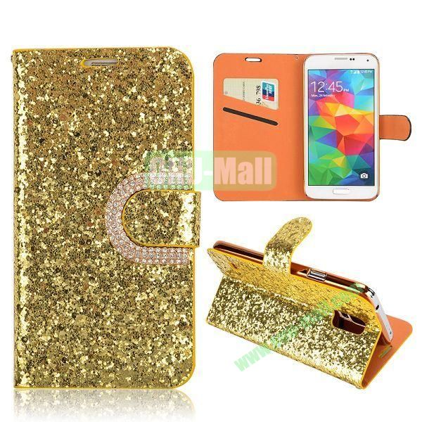 Luxury Glittering High Quality Side Flip Stand Leather Case For Samsung Galaxy S5 I9600 With Card Slots (Gold)