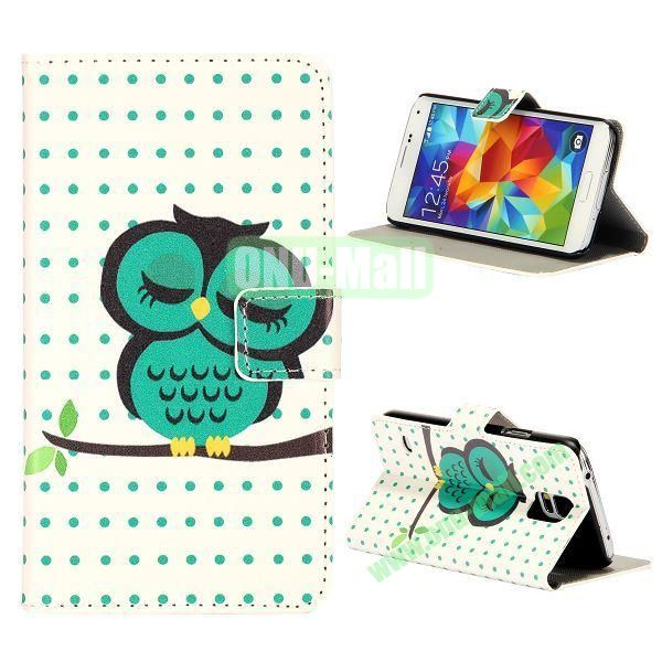 Green Owl Pattern Magnetic Foldable Flip Stand Leather Case for Samsung Galaxy S5 I9600 G900 with Card Slots