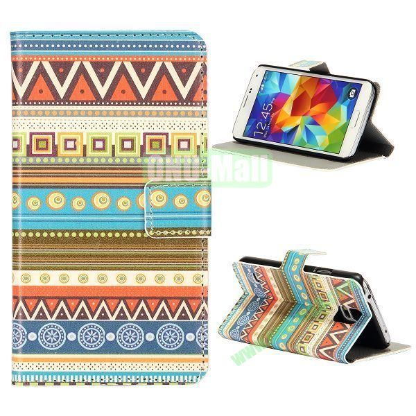 Preety Tribal Pattern Magnetic Foldable Flip Stand Leather Case for Samsung Galaxy S5 I9600 G900 with Card Slots
