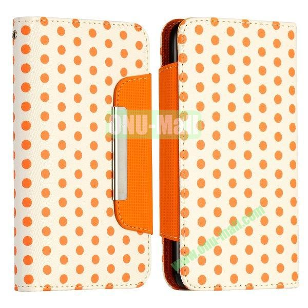 Polka Dots Pattern Flip Magnetic Leather Case for Samsung Galaxy S5 I9600 G900 with Card Slots (White+Orange)