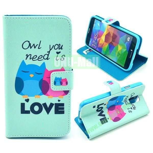 Cross Pattern Wallet Style Magnetic Flip Stand TPU+Leather Case for Samsung Galaxy S5 I9600 G900 with Card Slots (Cartoon Owls)