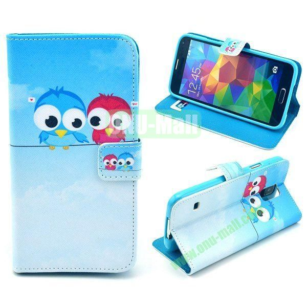 Cross Pattern Wallet Style Magnetic Flip Stand TPU+Leather Case for Samsung Galaxy S5 I9600 G900 with Card Slots (Cute Owls)
