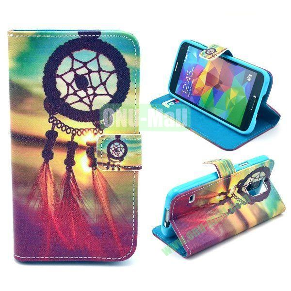 Cross Pattern Wallet Style Magnetic Flip Stand TPU+Leather Case for Samsung Galaxy S5 I9600 G900 with Card Slots (Dreamcatcher)
