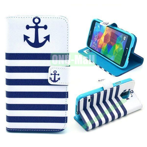 Cross Pattern Wallet Style Magnetic Flip Stand TPU+Leather Case for Samsung Galaxy S5 I9600 G900 with Card Slots (Navy Sailor Anchor)