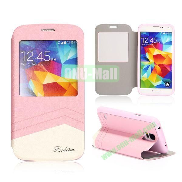 Foldable Flip Leather Case with Caller ID Display Window for Samsung Galaxy S5 I9600 G900 (Pink+White)