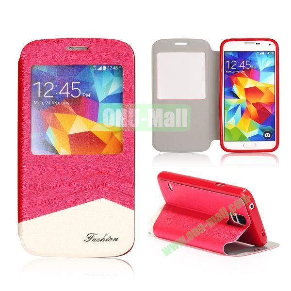 Foldable Flip Leather Case with Caller ID Display Window for Samsung Galaxy S5 I9600 G900 (Rose+White)