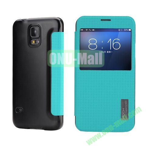 Rock Series Caller ID Display Window Design Side Flip PU Leather Case For Samsung Galaxy S5 I9600 G900 with Smart Sleep Wake (Cyan)