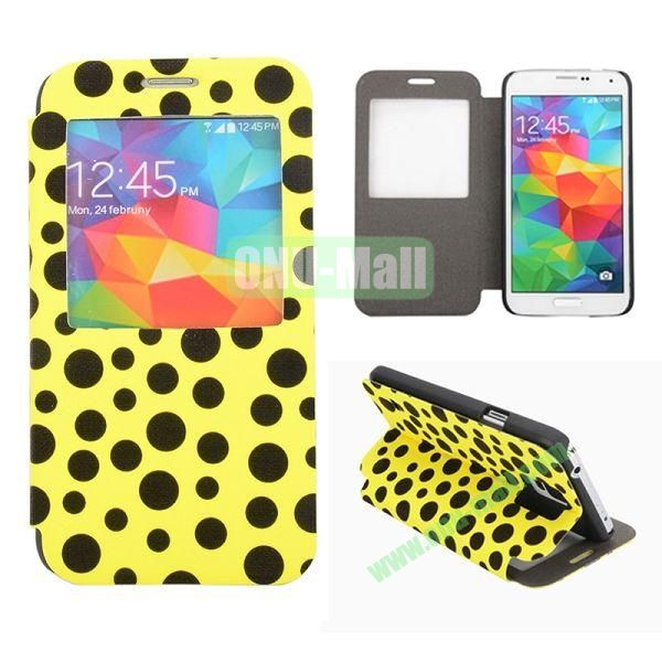 Polka Dots Pattern Caller ID Window Flip Stand Leather Case for Samsung Galaxy S5 I9600 G900 (Yellow+Black)