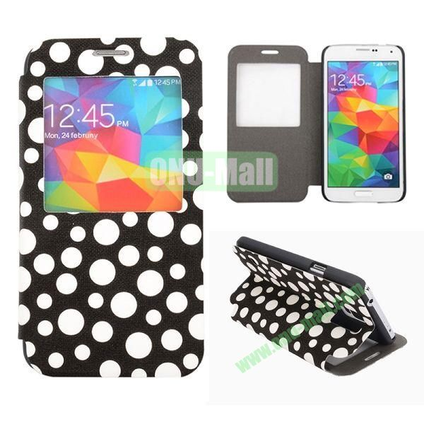 Polka Dots Pattern Caller ID Window Flip Stand Leather Case for Samsung Galaxy S5 I9600 G900 (Black+White)