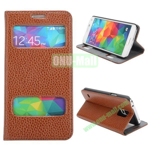 Litchi Texture Caller ID Display Window Design Leather Case for Samsung Galaxy S5 I9600 G900 (Brown)