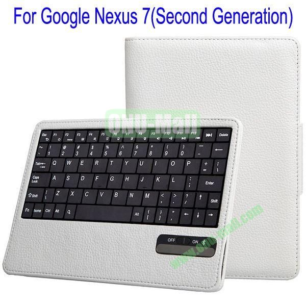 New Arrival Detachable Bluetooth Keyboard Leather Case Cover for Google Nexus 7 FHD (Second Generation) with Stand(White)