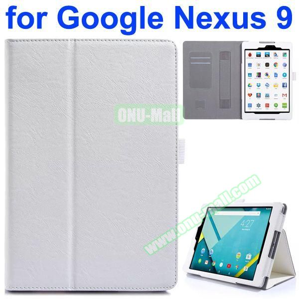 Flip Leather Case for Google Nexus 9 with Card Slots and Filco (White)