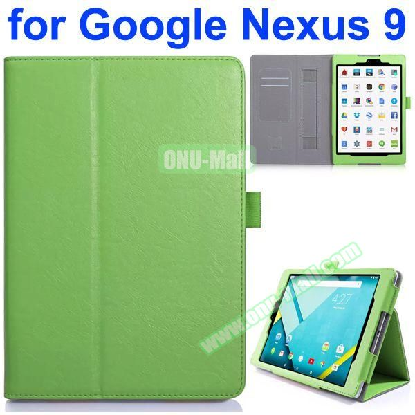 Flip Leather Case for Google Nexus 9 with Card Slots and Filco (Green)