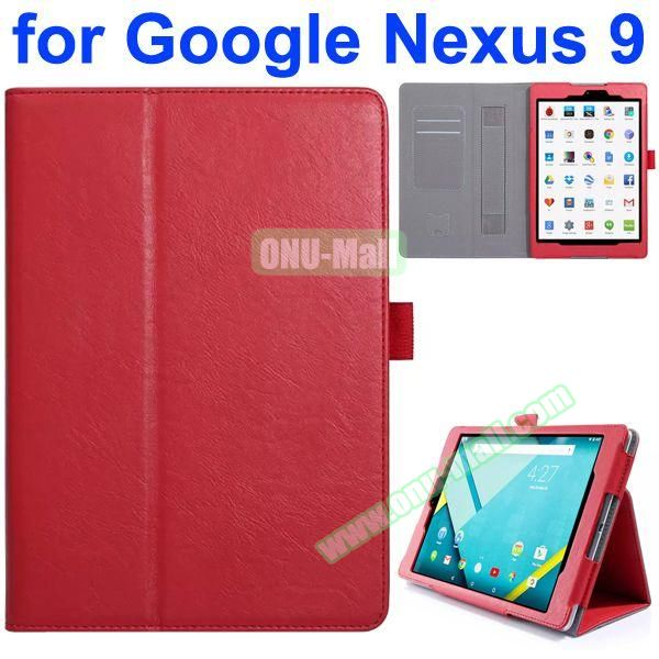Flip Leather Case for Google Nexus 9 with Card Slots and Filco (Red)
