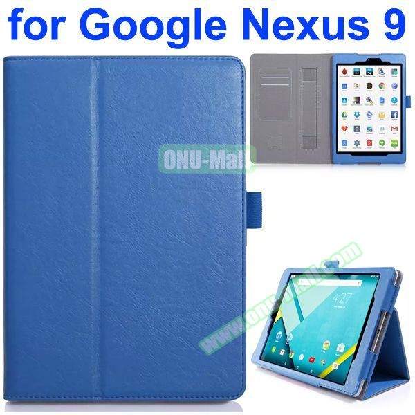 Flip Leather Case for Google Nexus 9 with Card Slots and Filco (Blue)