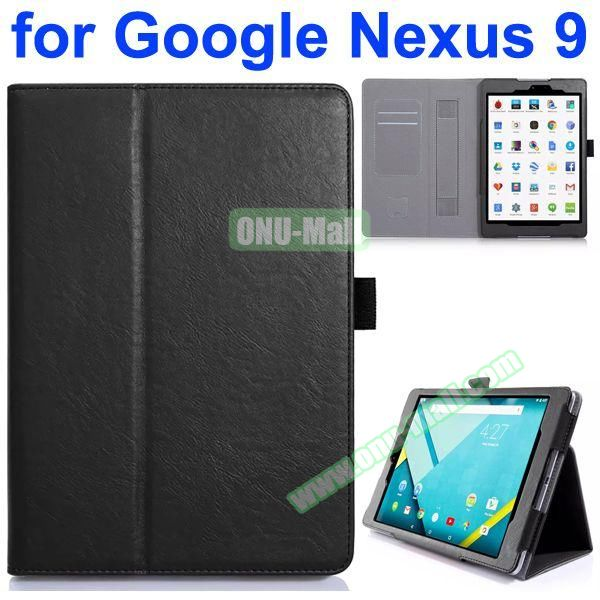 Flip Leather Case for Google Nexus 9 with Card Slots and Filco (Black)