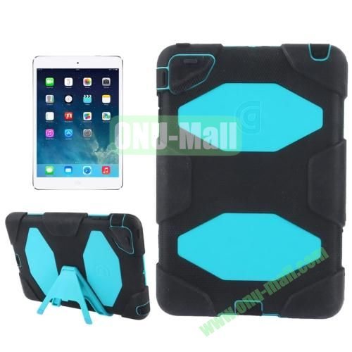 Detachable Plastic + Silicone Protective Case for iPad Mini with Stand ( Black+Blue)
