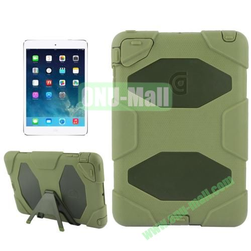 Detachable Plastic + Silicone Protective Case for iPad Mini with Stand(Brown)