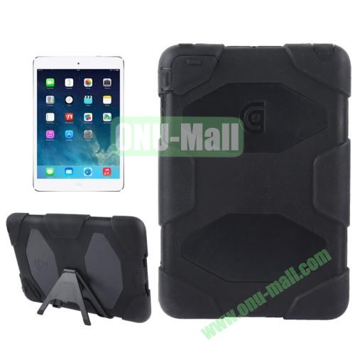 Detachable Plastic + Silicone Protective Case for iPad Mini with Stand (Black)
