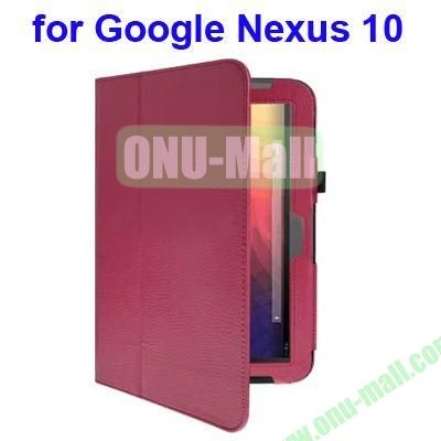 Litchi Texture Flip Leather Case for Google Nexus 10 with Holder (Red)
