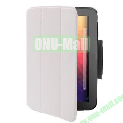 3-folding Smart Leather Case for Google Nexus 10 with Holder (White)