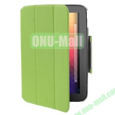 3-folding Smart Leather Case for Google Nexus 10 with Holder (Green)