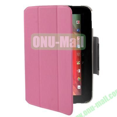 3-folding Smart Leather Case for Google Nexus 10 with Holder (Pink)