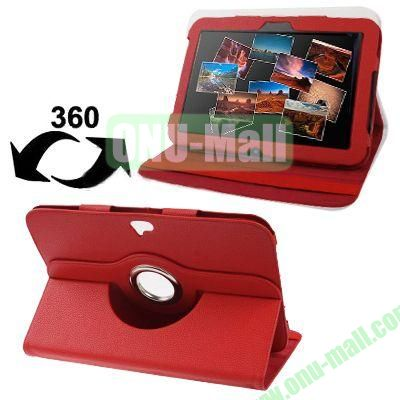 Lichee Texture 360 Degree Rotatable Leather Case for Google Nexus 10 with Holder (Red)