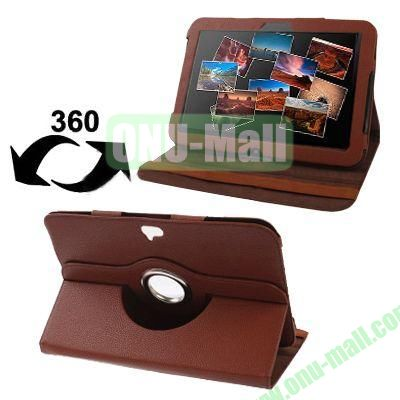 Lichee Texture 360 Degree Rotatable Leather Case for Google Nexus 10 with Holder (Brown)