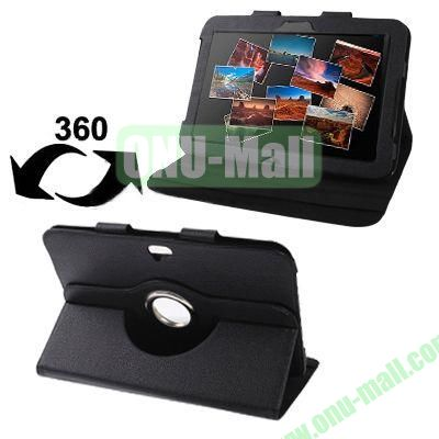Lichee Texture 360 Degree Rotatable Leather Case for Google Nexus 10 with Holder (Black)