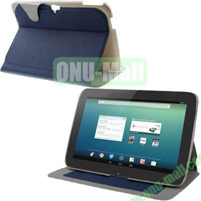 Cloth Texture Flip Leather Case for Google Nexus 10 with Wake-up Function (Dark Blue)