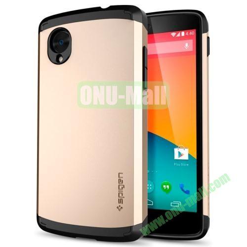 Plastic + TPU Material Slim Armor Case for Google Nexus 5 E980 (Light Gold)