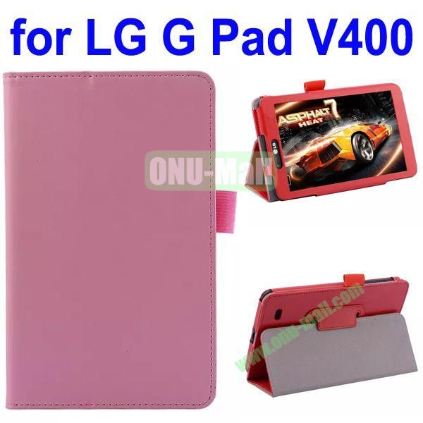 Crazy Horse Texture Flip Leather Case for LG G Pad V400 (Pink)