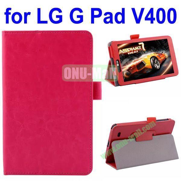 Crazy Horse Texture Flip Leather Case for LG G Pad V400 (Rose)