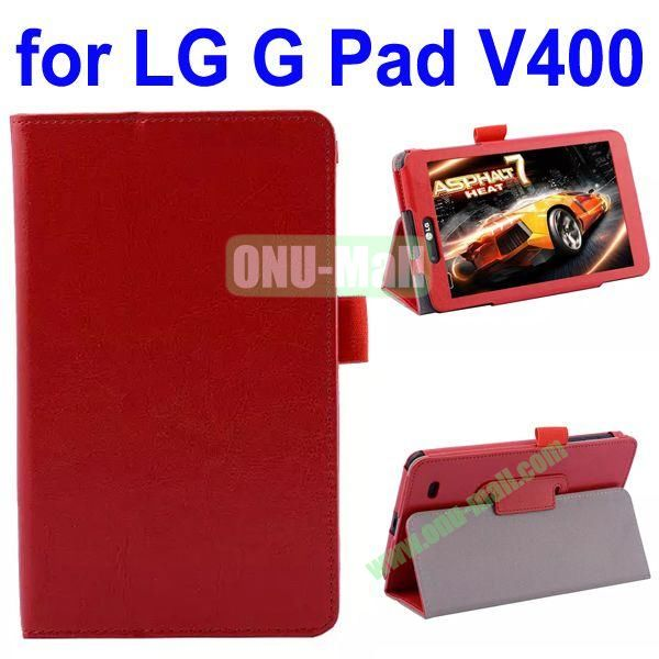 Crazy Horse Texture Flip Leather Case for LG G Pad V400 (Red)