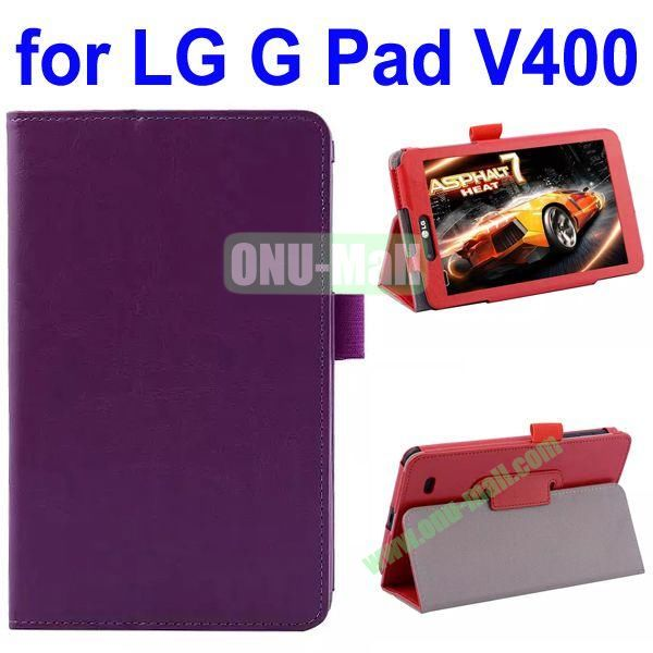 Crazy Horse Texture Flip Leather Case for LG G Pad V400 (Purple)