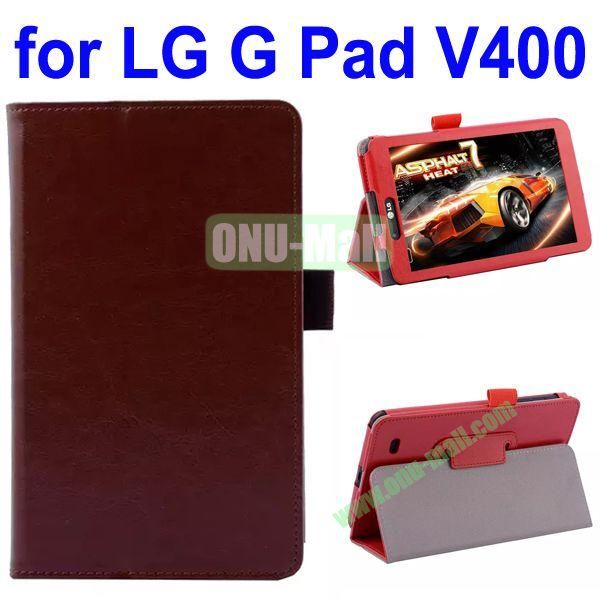 Crazy Horse Texture Flip Leather Case for LG G Pad V400 (Brown)