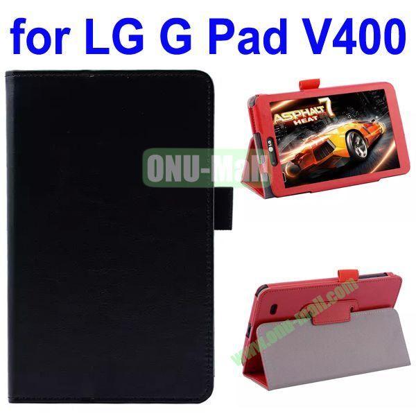 Crazy Horse Texture Flip Leather Case for LG G Pad V400 (Black)