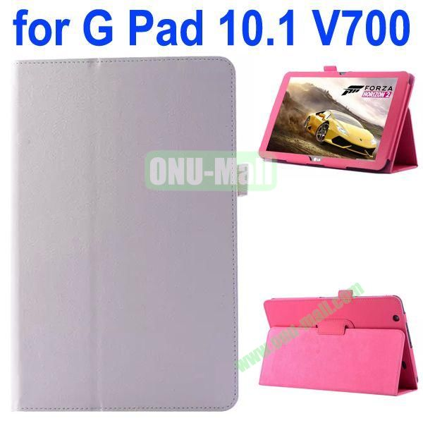 Litchi Texture Flip Stand Leather Case for LG G Pad 10.1 V700 (White)