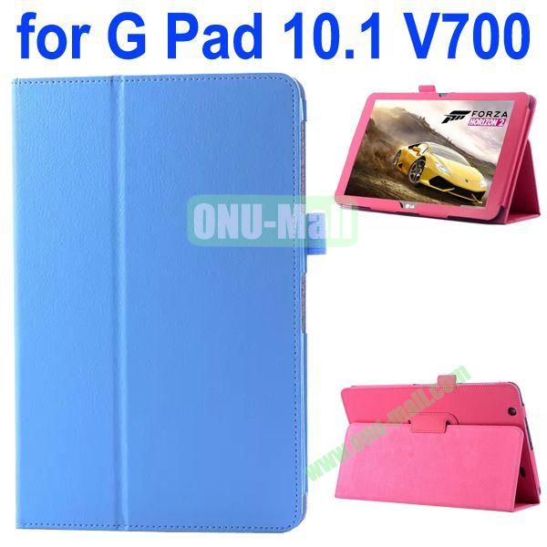 Litchi Texture Flip Stand Leather Case for LG G Pad 10.1 V700 (Blue)