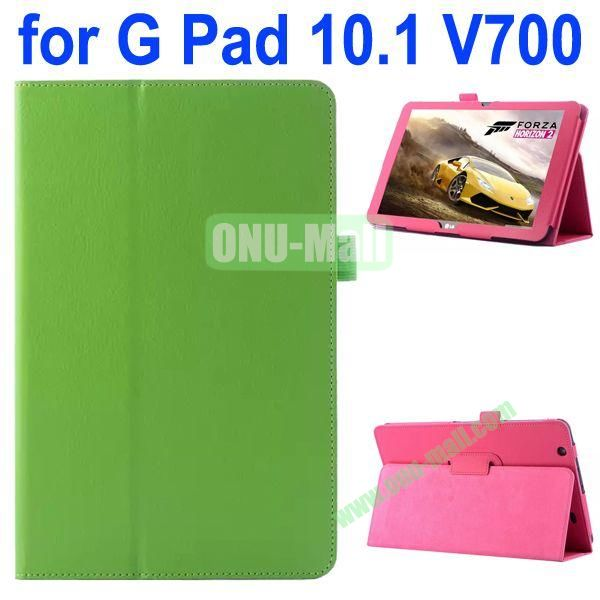 Litchi Texture Flip Stand Leather Case for LG G Pad 10.1 V700 (Green)