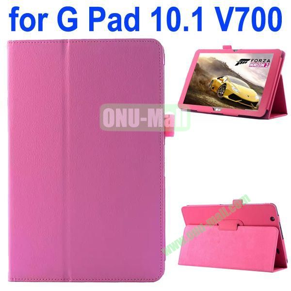 Litchi Texture Flip Stand Leather Case for LG G Pad 10.1 V700 (Pink)