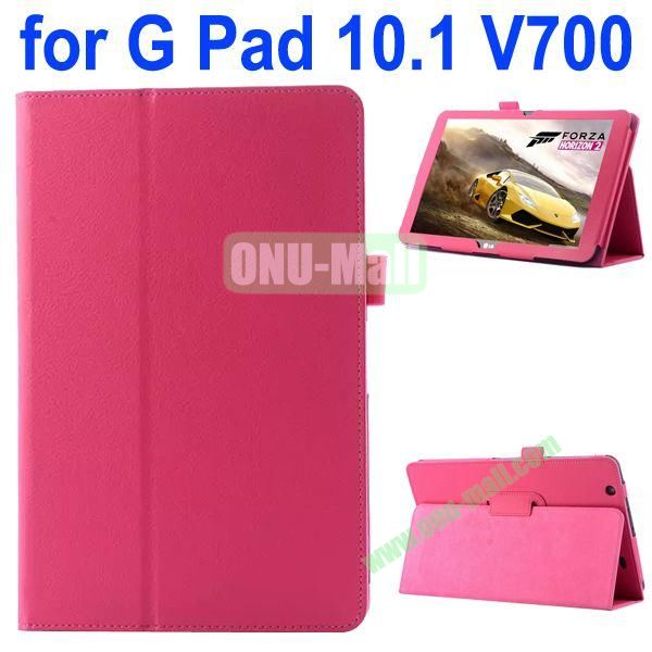 Litchi Texture Flip Stand Leather Case for LG G Pad 10.1 V700 (Rose)